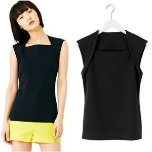 Kate Spade Saturday L Black Slimster Cotton Top